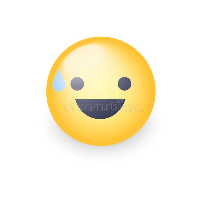 Smiling Face with Open Mouth and Cold Sweat. Smiling emoticon mood royalty free illustration