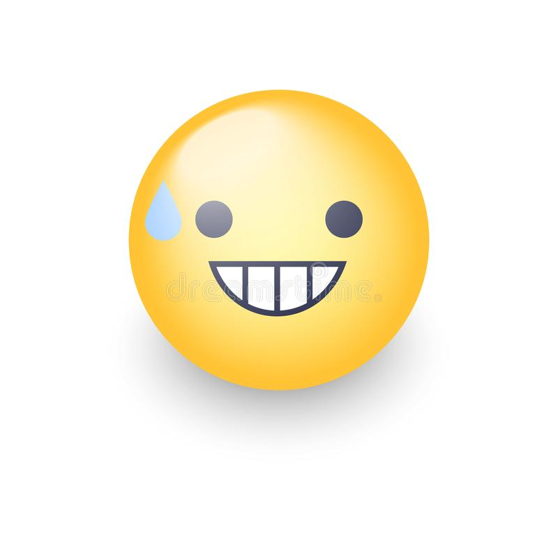 Smiling Face with Open Mouth and Cold Sweat. Smiling emoticon mood. royalty free illustration
