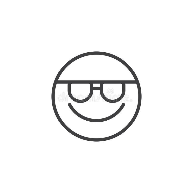Smiling Face With Sunglasses emoji line icon. Linear style sign for mobile concept and web design. Happy emoticon face with glasses outline vector icon. Symbol vector illustration