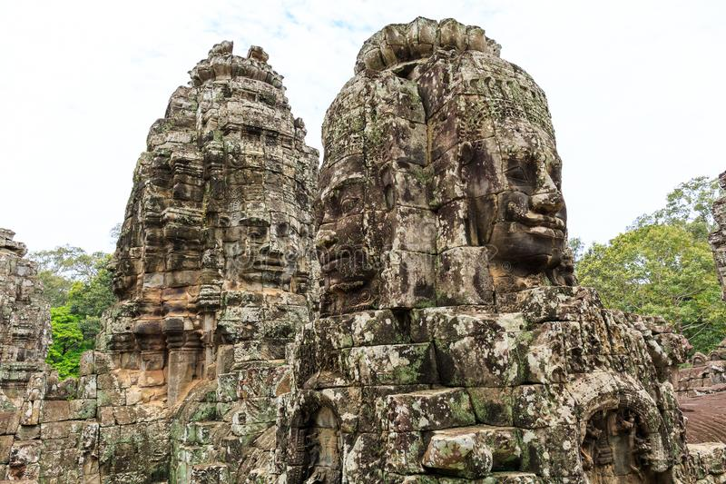 Bayon Temple in Angkor Thom Area of Cambodia stock photo