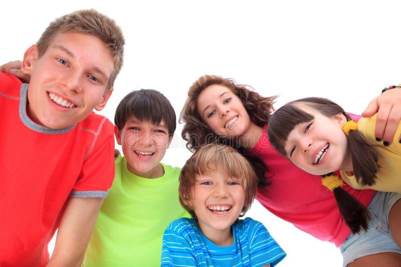 Smiling faces of children stock photos