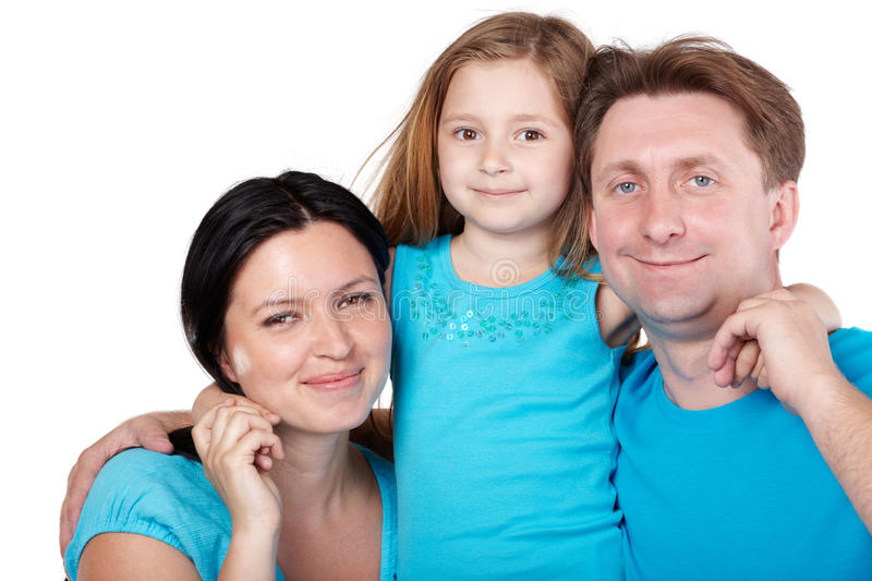 Download Smiling Family, Daughter In Center Hugs Parents Stock Image - Image: 26281927