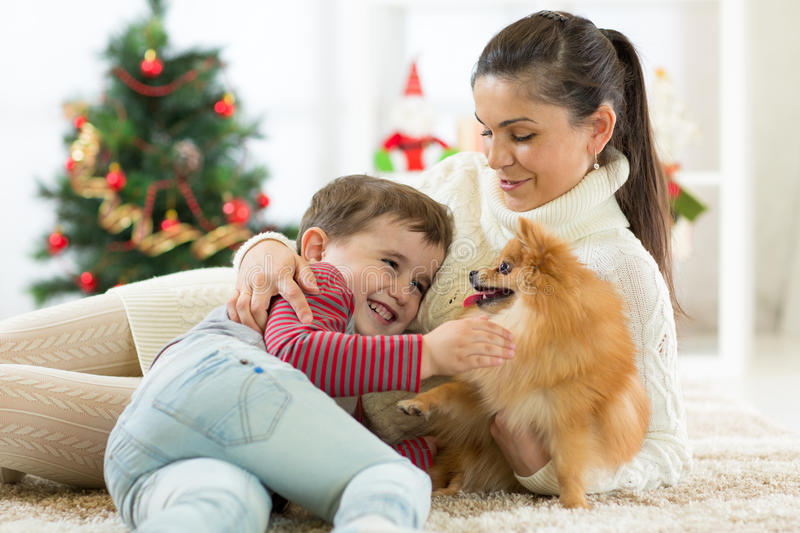 Smiling family and dog sitting by Christmas tree royalty free stock images