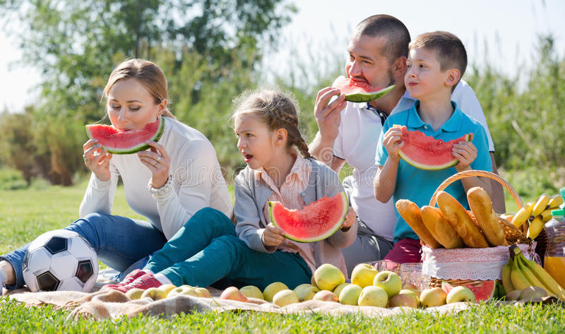 Smiling family of four having picnic and eating watermelon stock images