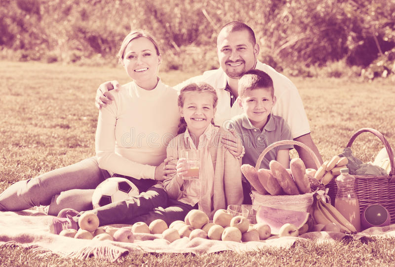 Smiling family of four having a picnic outdoors. Cheerful family of four having a picnic outdoors in a sunny weather royalty free stock photo