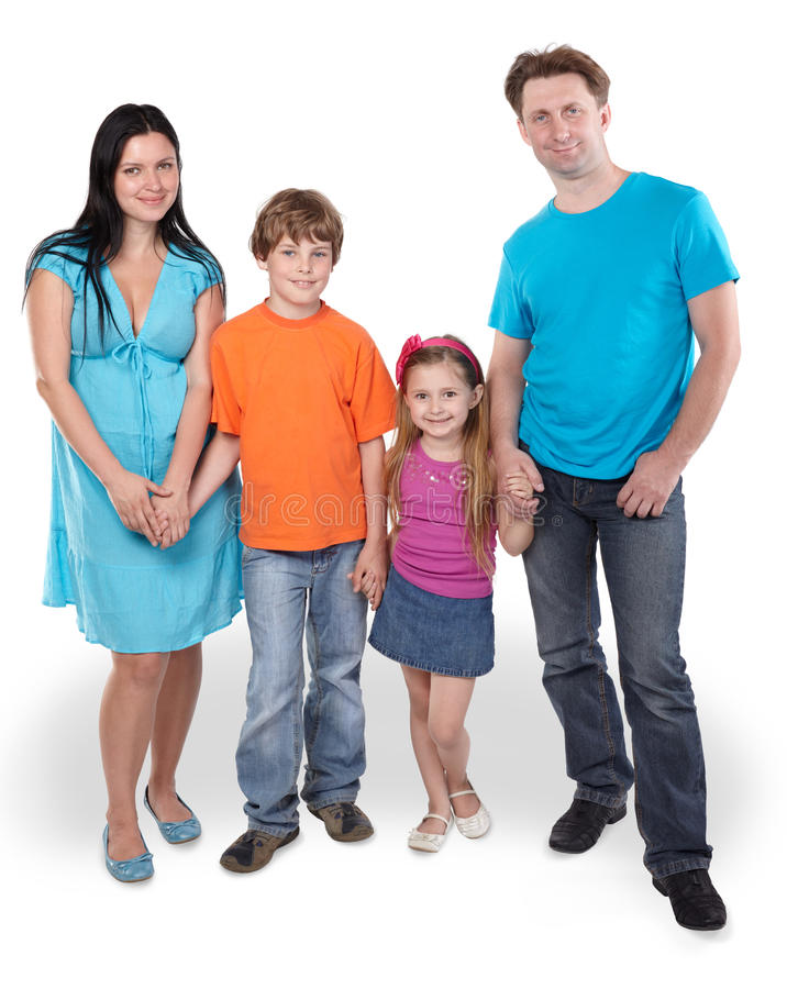 Download Smiling Family Stands Together Stock Image - Image: 26281967