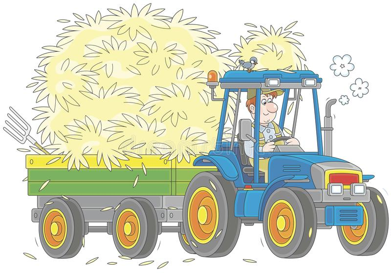 Tractor carrying hay royalty free illustration