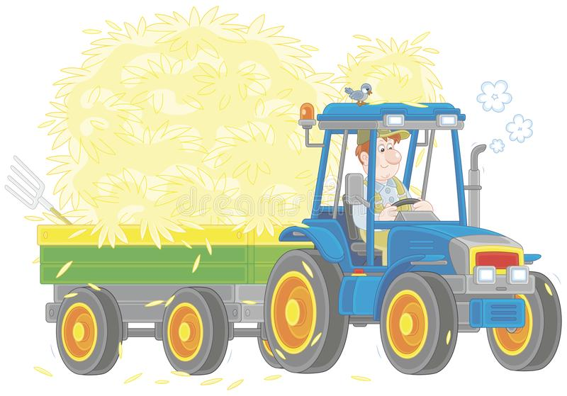 Tractor carrying hay vector illustration