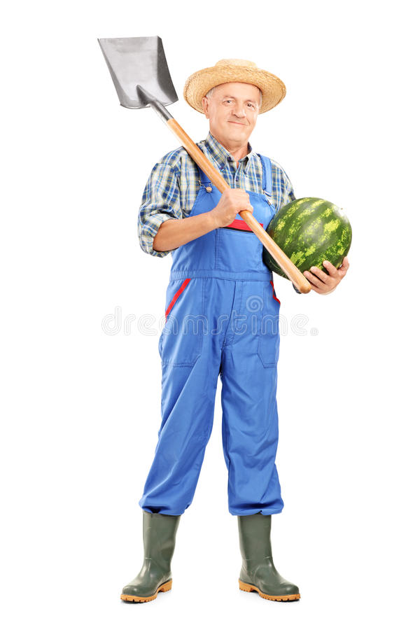 Smiling farmer holding a watermelon and shovel royalty free stock images