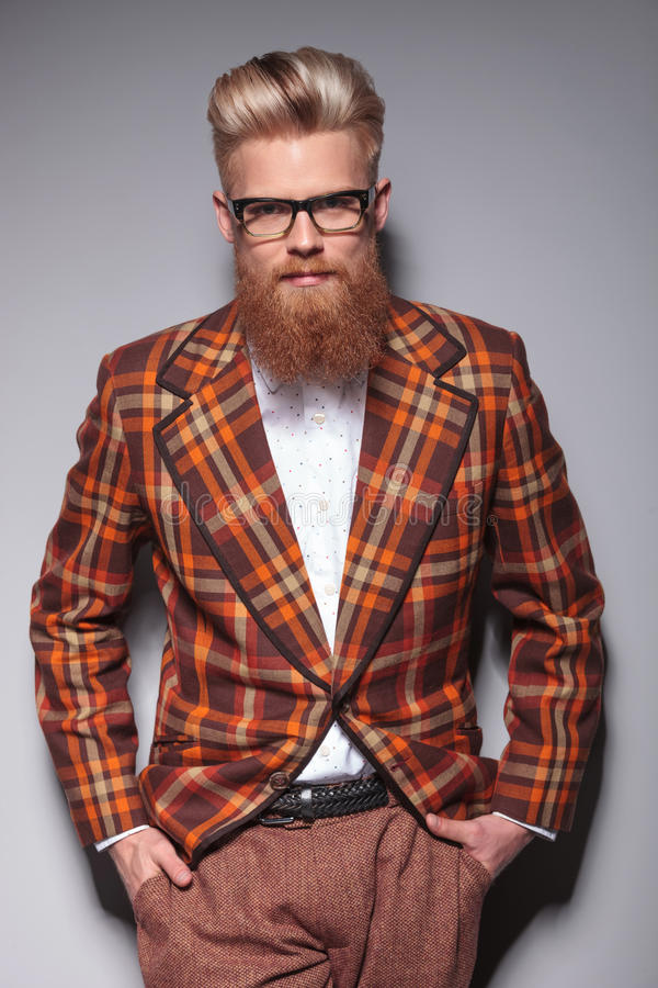 Download Smiling Fashion Model With Long Beard Stock Image - Image of blonde, look: 38804609