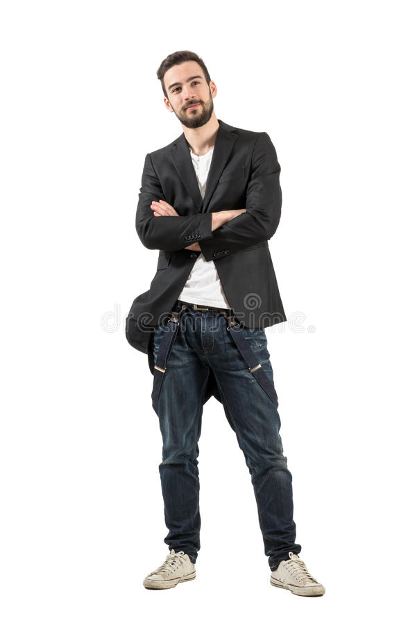 Smiling fashionable man with crossed arms looking up. Smiling happy fashionable man with crossed arms looking up. Full body length portrait isolated over white royalty free stock photography