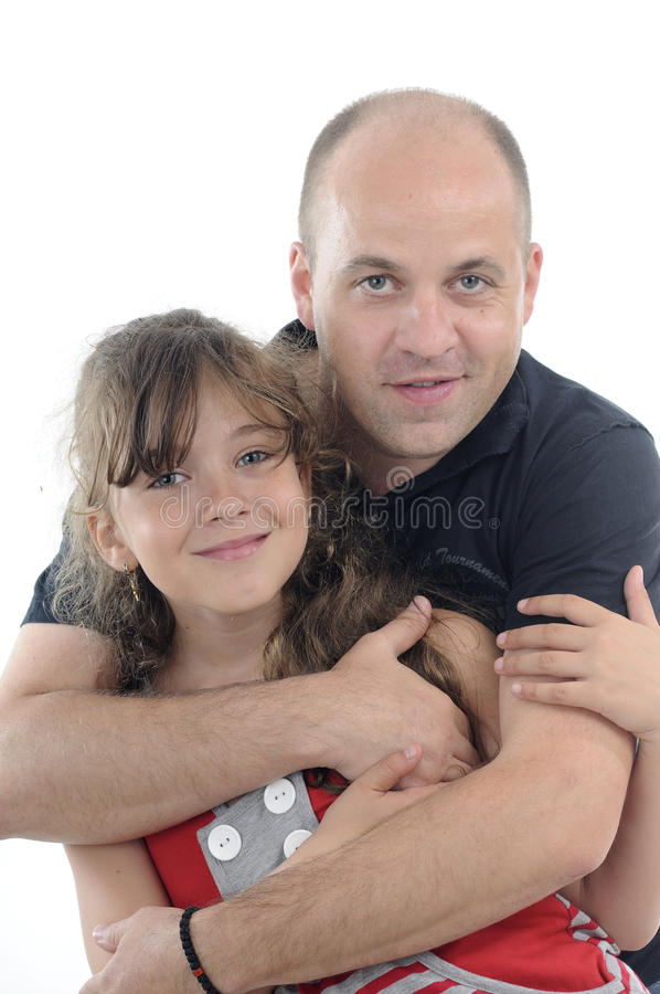 Smiling Father And Daughter Portraits Stock Image