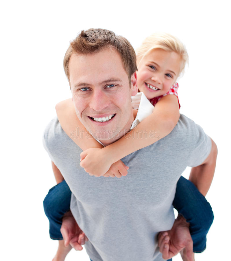 Smiling Father Giving His Daughter Piggyback Ride Stock