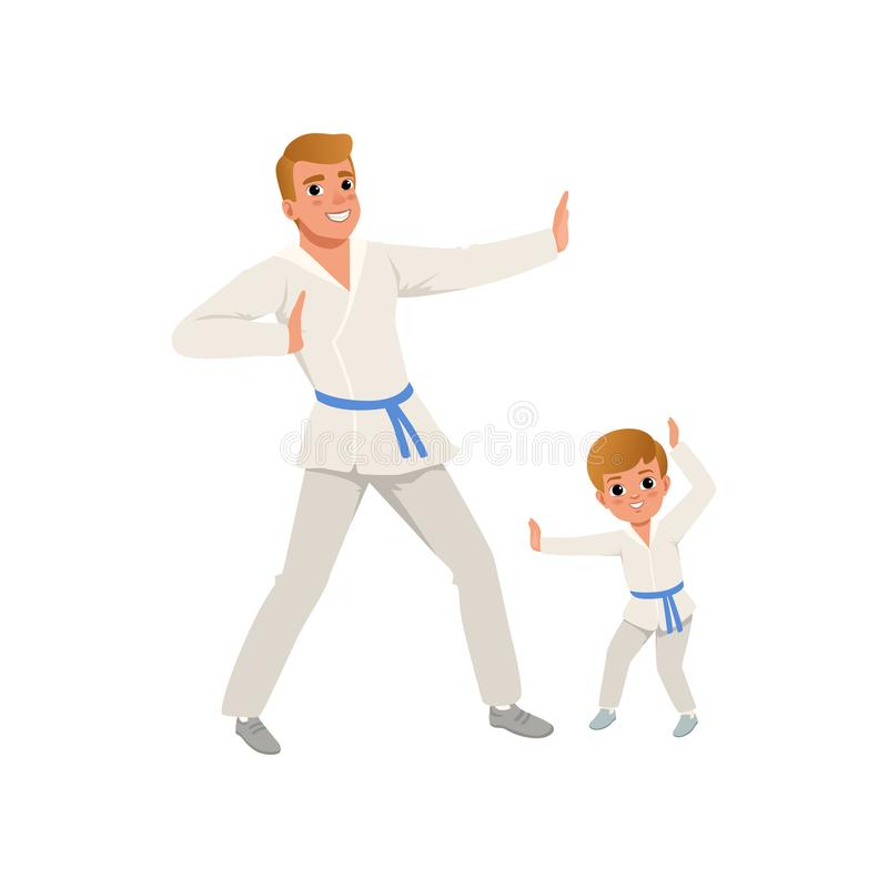 Smiling father and son training karate blows. Dad and child wearing kimonos and blue belts. Martial art. Fatherhood royalty free illustration