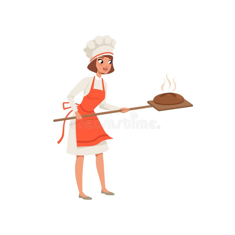 Smiling female baker character in uniform taking out with shovel freshly baked bread vector Illustration on a white royalty free illustration