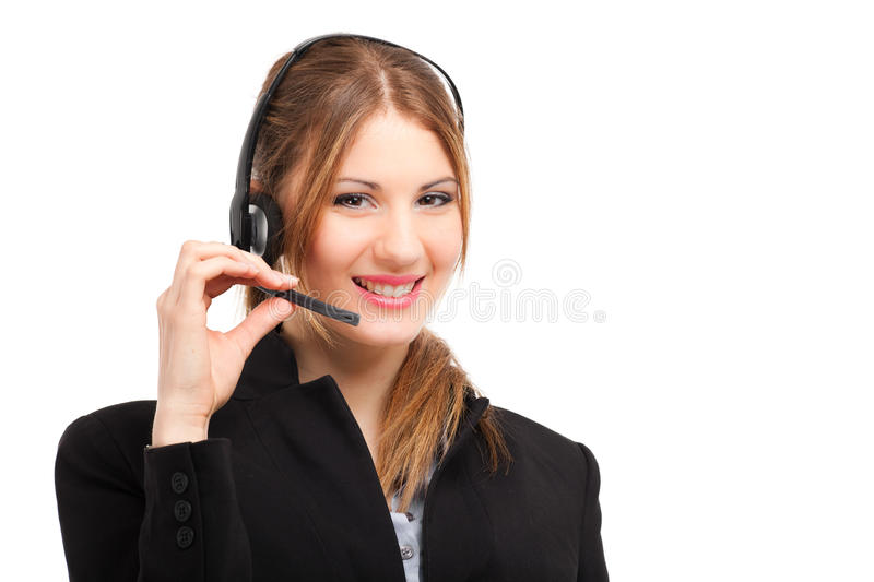 Smiling female Call center operator stock images