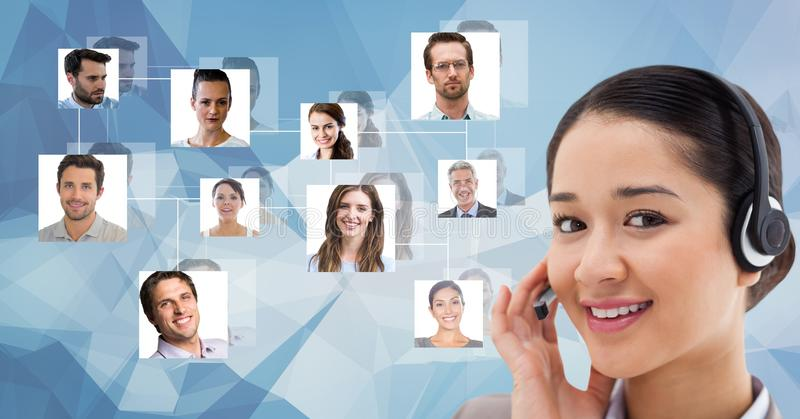 Smiling female customer care representative wearing headphones against flying portraits stock illustration