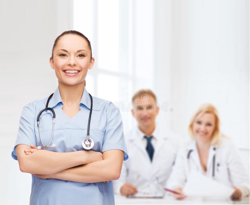 Download Smiling Female Doctor Or Nurse With Stethoscope Stock Image - Image of mentor, pediatrician: 39638129
