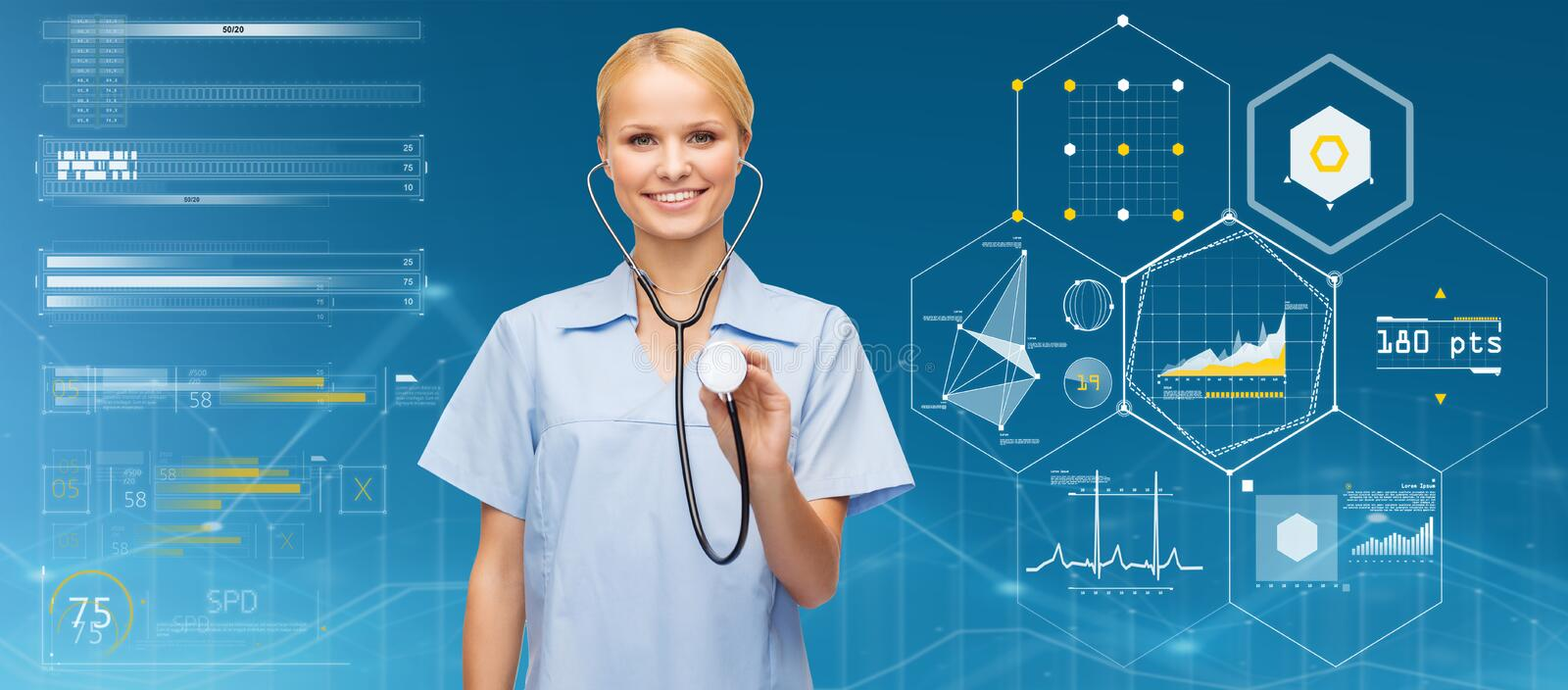Smiling female doctor or nurse with stethoscope royalty free stock photo