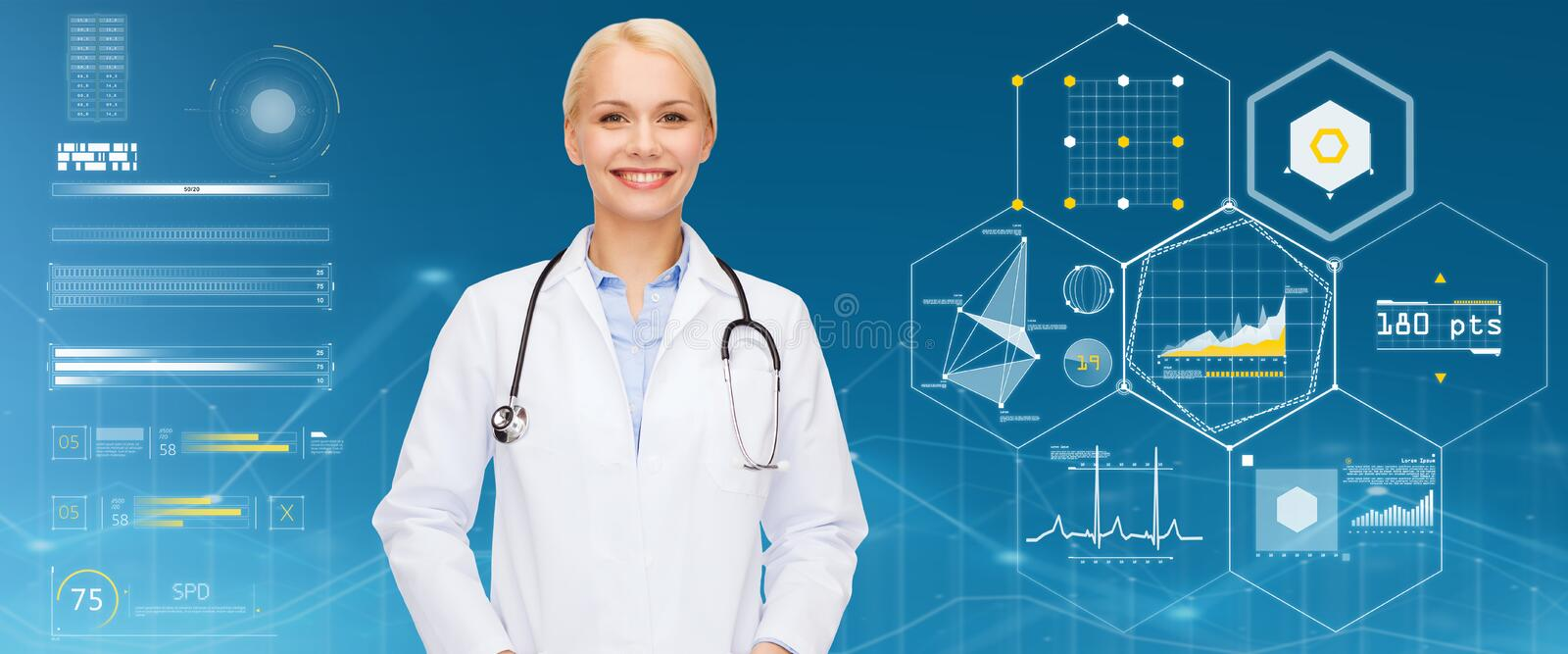 Smiling female doctor with stethoscope. Healthcare, people and medicine concept - smiling female doctor with stethoscope over blue background and charts royalty free stock image