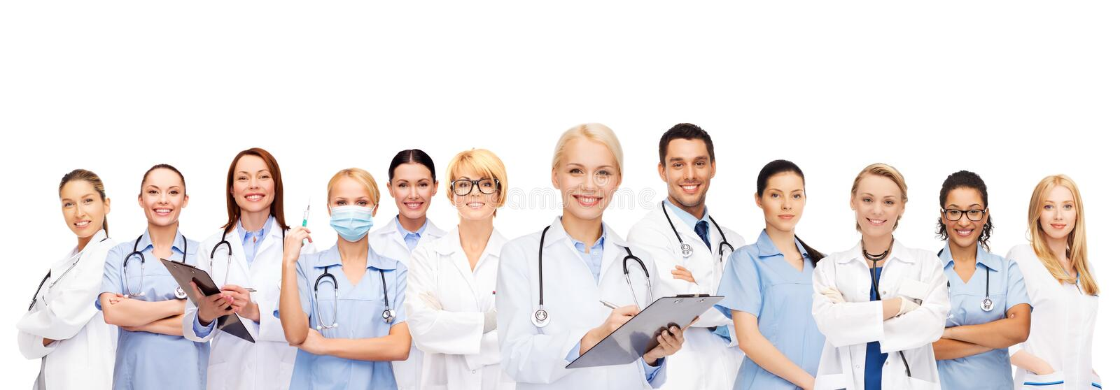 Smiling female doctors and nurses with stethoscope stock photography