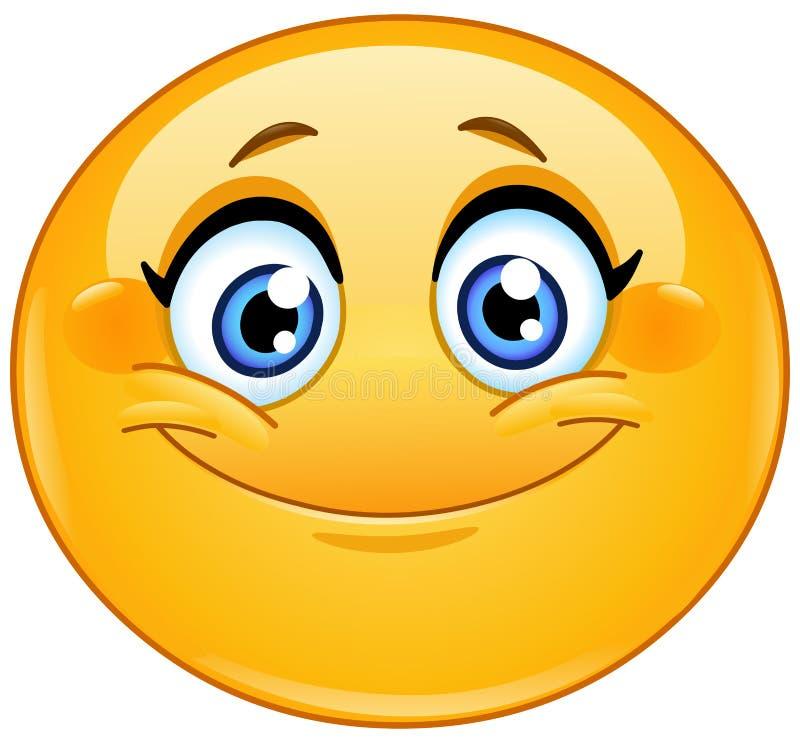 Smiling female emoticon stock illustration