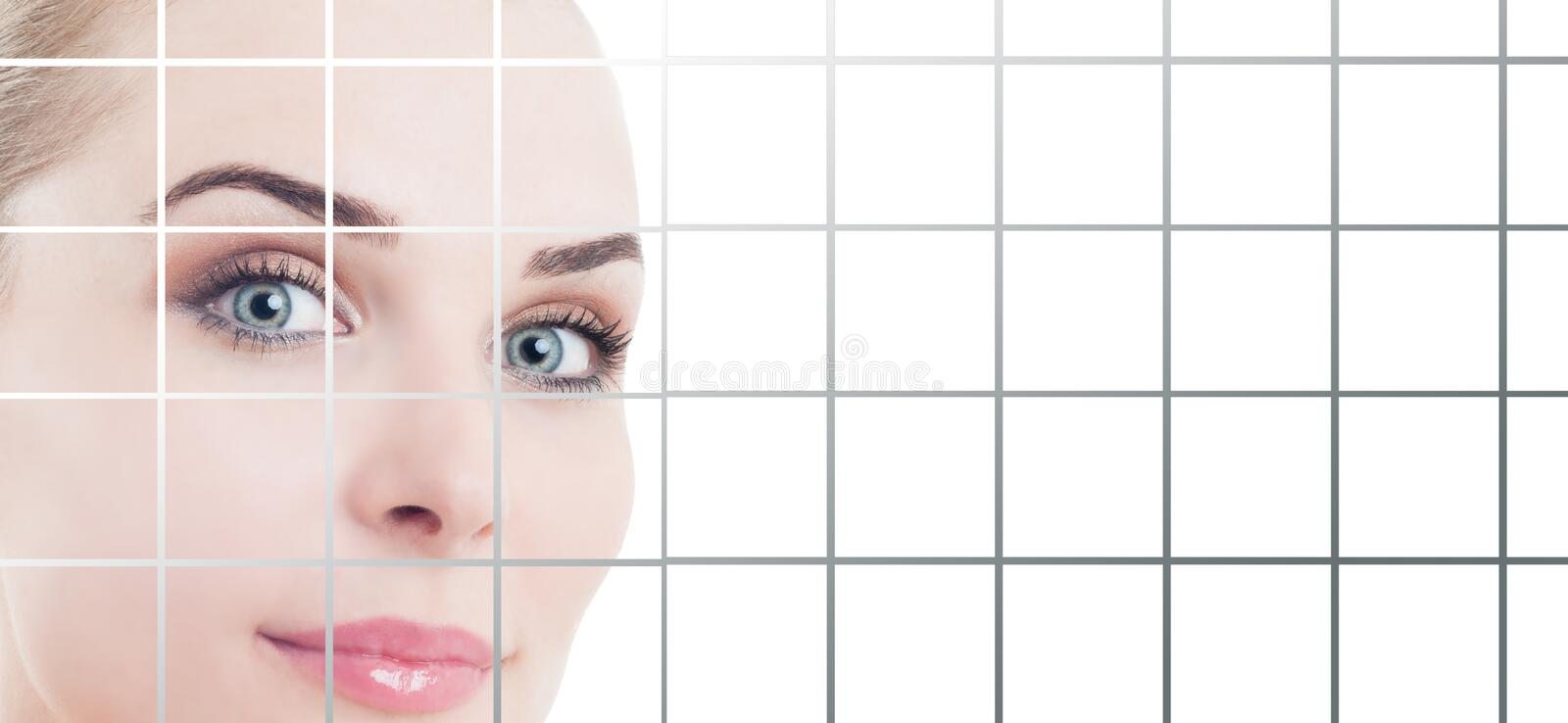 Smiling female with fresh and flawless skin with copypaste. And studio design applied as beauty and healthcare concept royalty free stock image