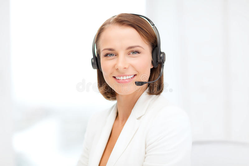 Download Smiling Female Helpline Operator With Headphones Stock Image - Image of help, girl: 40042171
