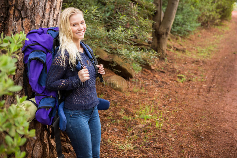 Download Smiling Female Hiker Waiting By The Side Of The Road Stock Photo - Image of cheerful, leaning: 58192530