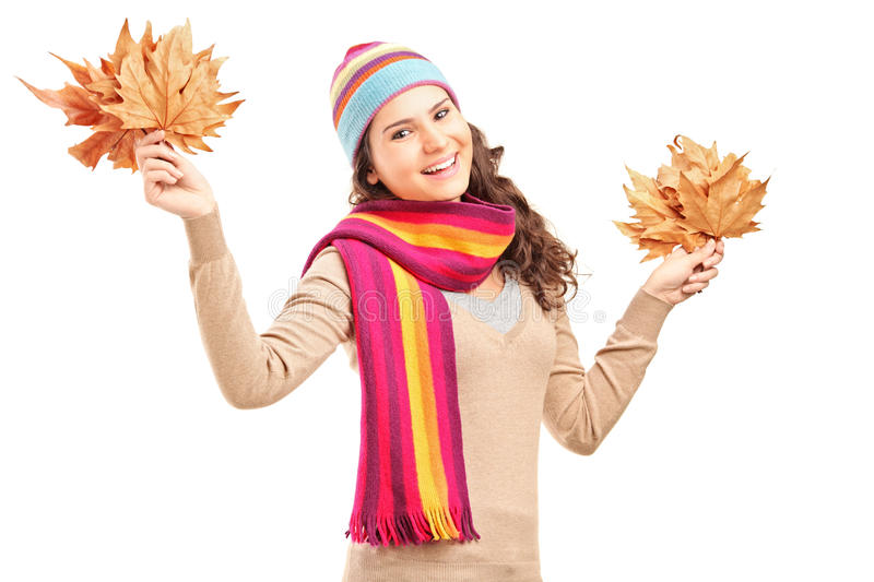 Smiling Female Holding Tree Leaves Royalty Free Stock Photos