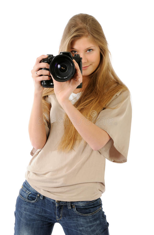 Smiling female photographer royalty free stock images
