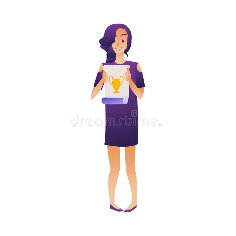 Smiling female student graduate holding diploma in hands isolated on white background. royalty free illustration