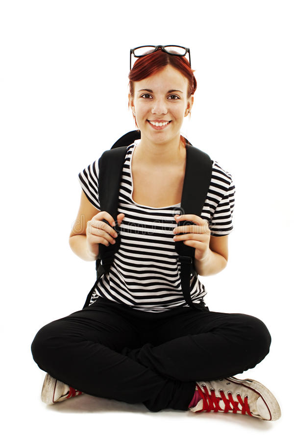Download A Smiling Female Student With A School Bag Stock Image - Image: 26809187
