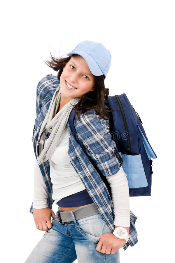 Download Smiling Female Teenager Wear Cool Outfit Schoolbag Stock Image - Image: 21459137