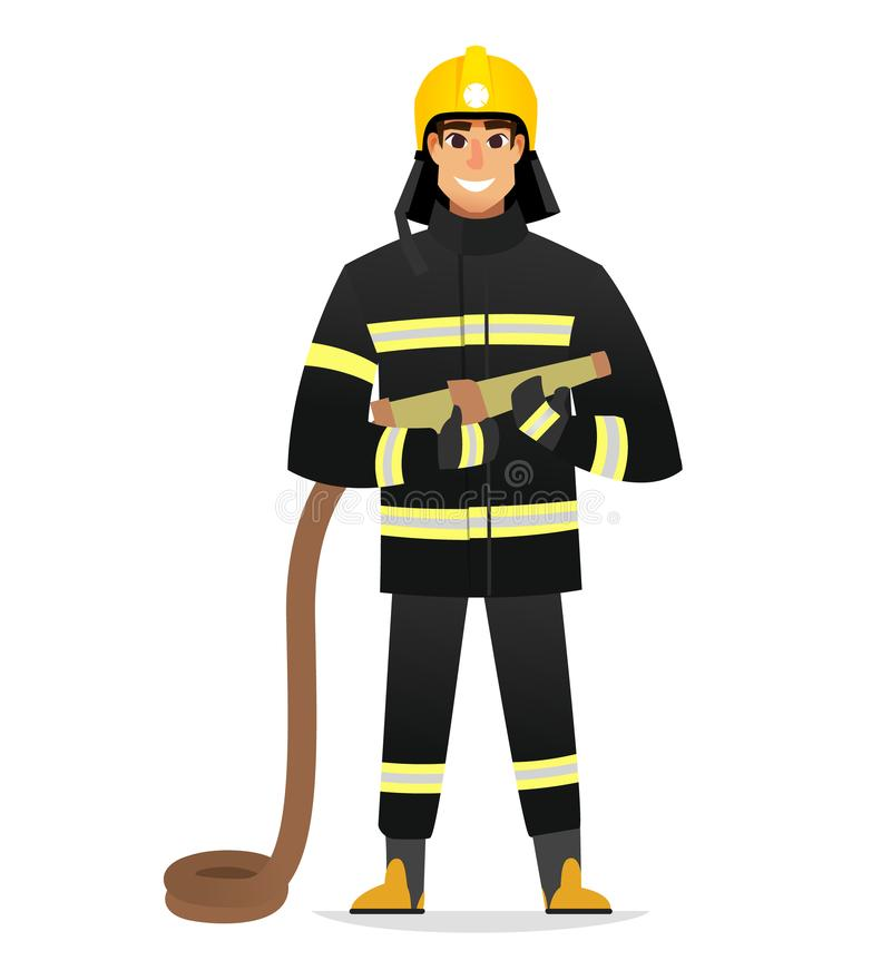 Smiling Firefighter, man from fire brigade, standing full face in form of fireman, with personal protective equipment. Firefighter, man from fire brigade royalty free illustration