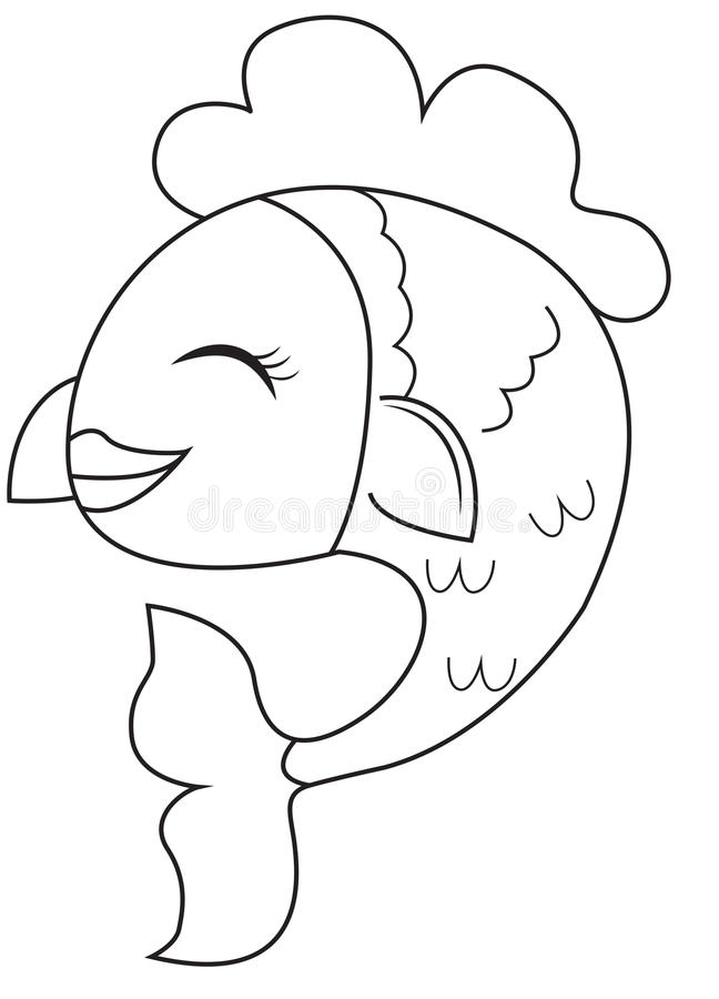 Smiling fish coloring page vector illustration