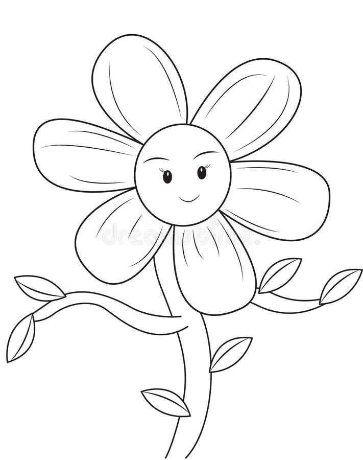 Smiling Flower Coloring Page Stock Illustration - Illustration of ...