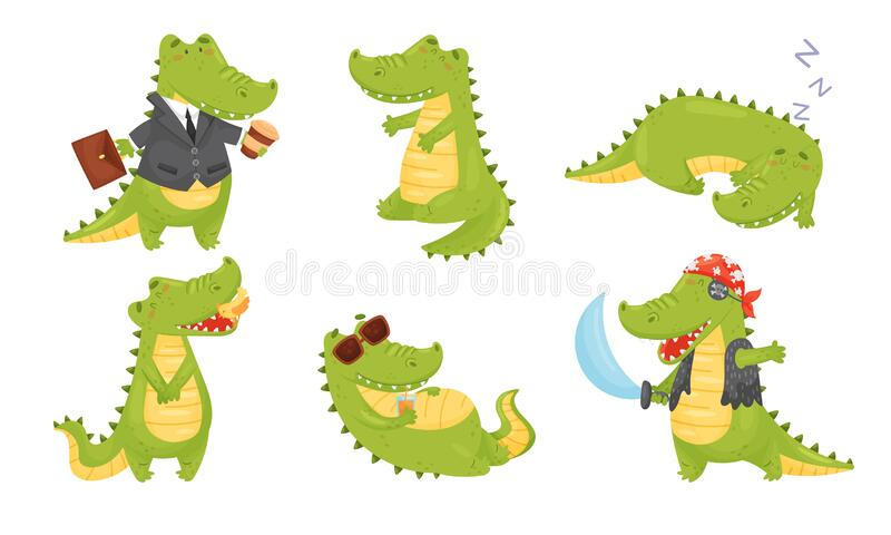 Smiling Friendly Crocodile Drinking Cocktail and Wearing Pirate Costume Vector Set libre illustration