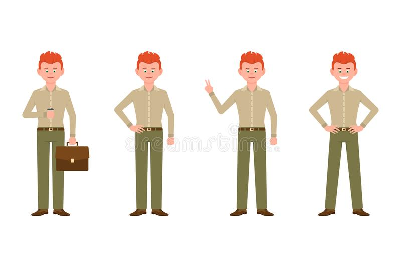 Smiling, friendly, red hair young office man vector. Drinking coffee, shoving victory sign front view standing boy character set royalty free illustration