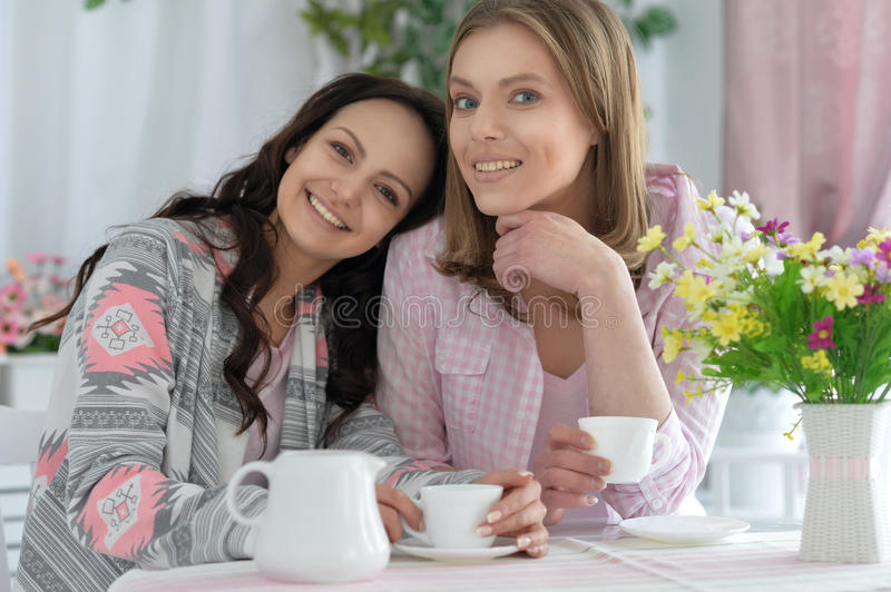 Smiling friends drinking tea stock photos