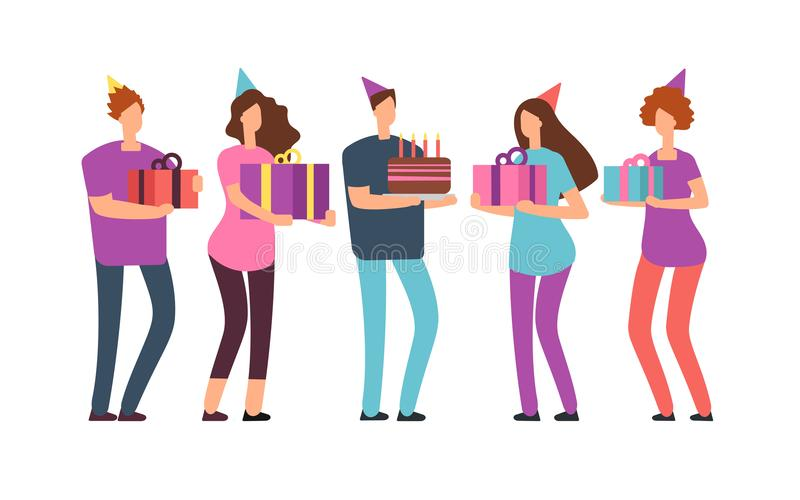 Smiling friends with gifts and cake. Happy birthday vector concept with cartoon people stock illustration