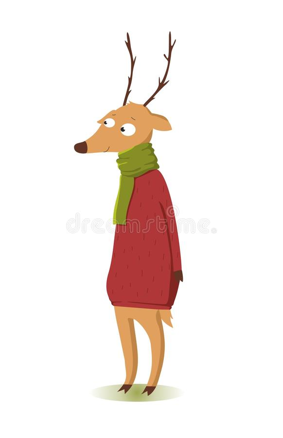 Smiling funny christmas deer in red sweater royalty free stock images