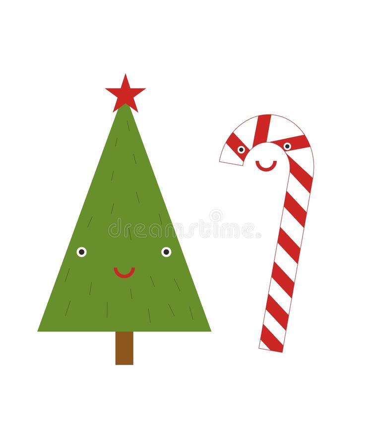 Smiling funny xmas fir-tree and candy stock images