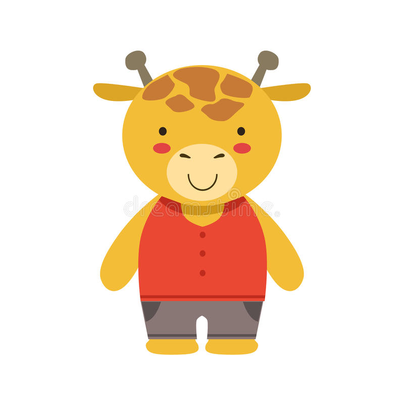 Smiling Giraffe In Red Top And Brown Pants Cute Toy Baby Animal Dressed As Little Boy. Part Of Adorable Standing Humanized Fauna Characters Collection Flat vector illustration