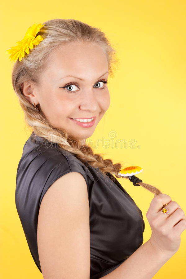 Download Smiling girl stock image. Image of hair, beauty, flower - 23875761