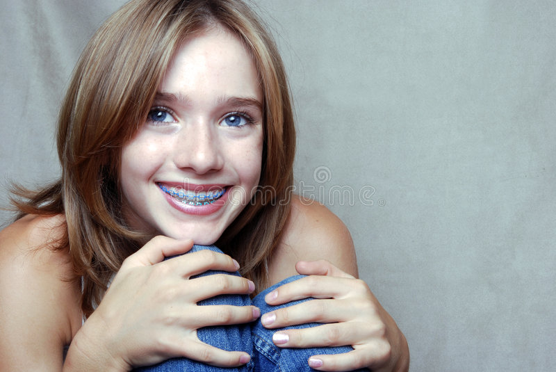 Download Smiling Girl stock image. Image of face, long, hands, beauty - 5886217