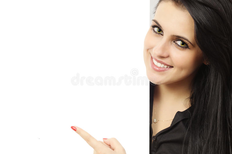 Smiling girl with billboard stock photo