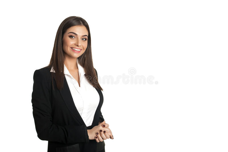 Smiling girl in black suit. Beautiful smiling girl in black suit looking at the camera royalty free stock image
