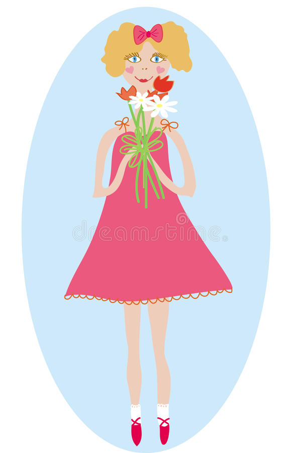 Download Smiling Girl With Bunch Of Flowers Stock Image - Image: 13218501