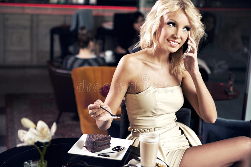 Download Smiling girl at the cafe stock photo. Image of call, caucasian - 24835516